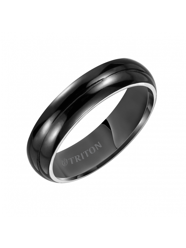 6mm Domed Black Titanium Comfort Fit Band.
