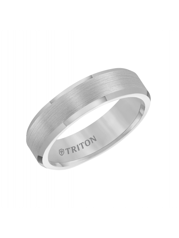 6mm Bevel Edge White Tungsten Carbide comfort fit Band with center satin finish and bright polished edge