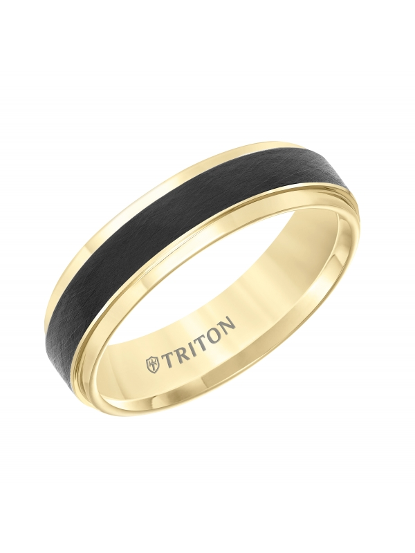 Tungsten Carbide Comfort Fit Two Tone Mens Band with Black Crystalline Finish Center and Yellow Step Edge