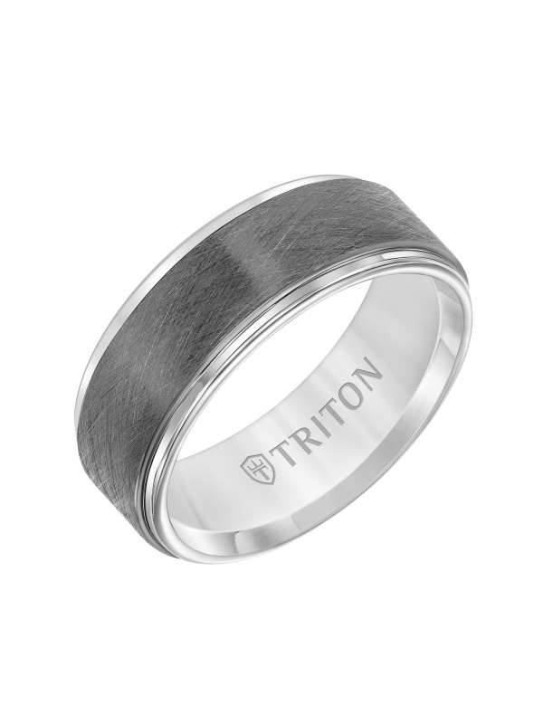Tungsten Carbide Comfort Fit Mens Two Tone Band with Gunmetal Crystalline Finish Center and White Step Edge