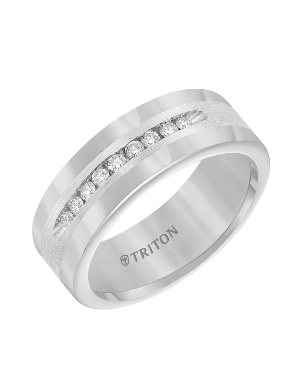 8mm Tungsten carbide comfort fit band with satin finish silver inlay and channel set diamonds