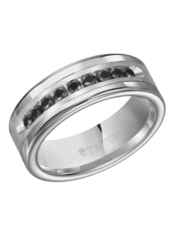 8MM Bright Polished Tungsten Carbide Comfort Fit band with Brush Finish Silver Inlay and 1/2 carat of Channel Set Black Diamonds.