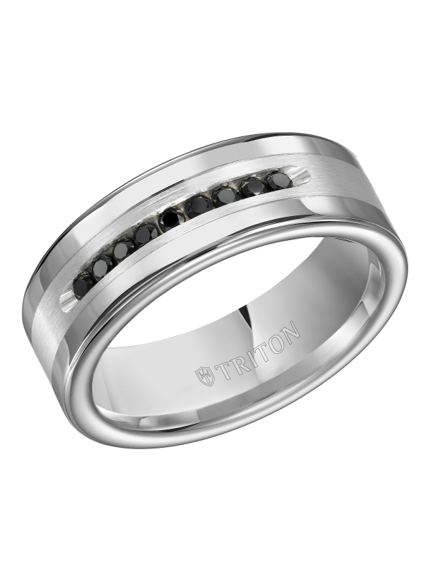 8MM Bright Polished Tungsten Carbide Comfort Fit band with Brush Finish Silver Inlay and 1/4 carat of Channel Set Black Diamonds.