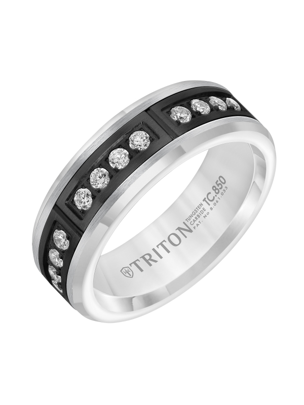 7mm Comfort Fit White Tungsten Band with Channel Set Diamonds in Black PVD Coated Steel