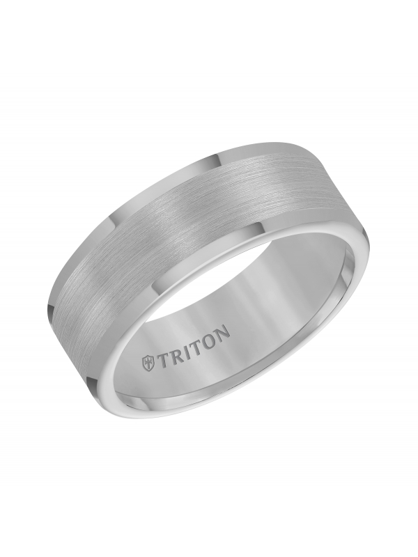 Tungsten Carbide Satin Finish Flat Center with Bright Polish Round Edges Comfort Fit Wedding Band