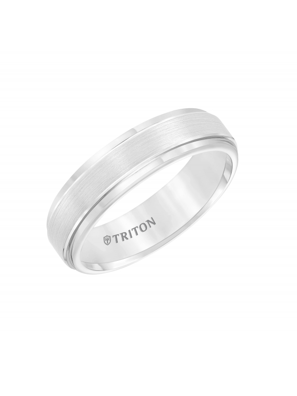 6mm White Tungsten Carbide Satin Finish Flat Center with Bright Step Edge Comfort Fit Band.