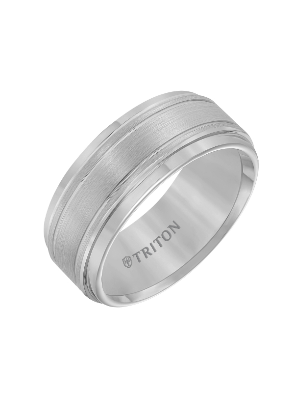 9mm White Tungsten Carbide Bright Polished Step Edge with Center Satin Finish and bright cut parallel lines Comfort Fit Band