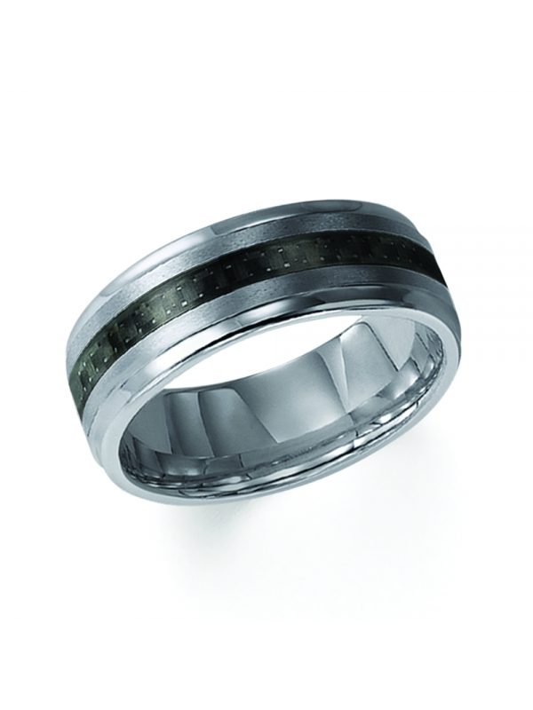 8mm Tungsten Carbide Step Edge Comfort Fit Band with Black Carbon Fiber Inlay