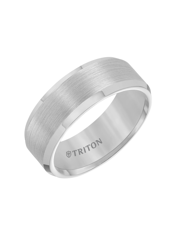8mm Bevel Edge White Tungsten Carbide Comfort Fit Band with Satin Finish Center and Bright Polished Edge
