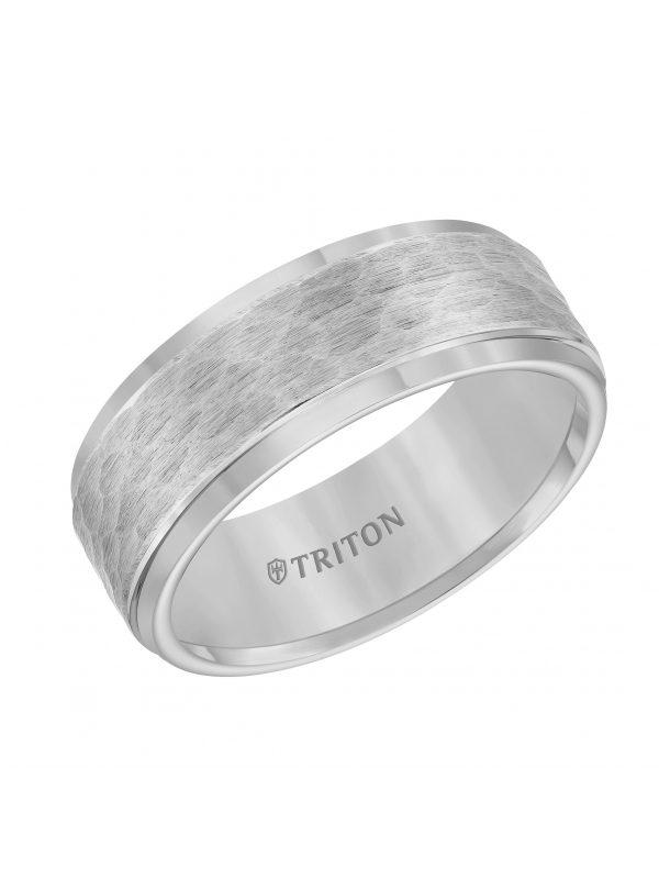 8mm  Tungsten carbide Step Edge Comfort Fit band with center hammered texture