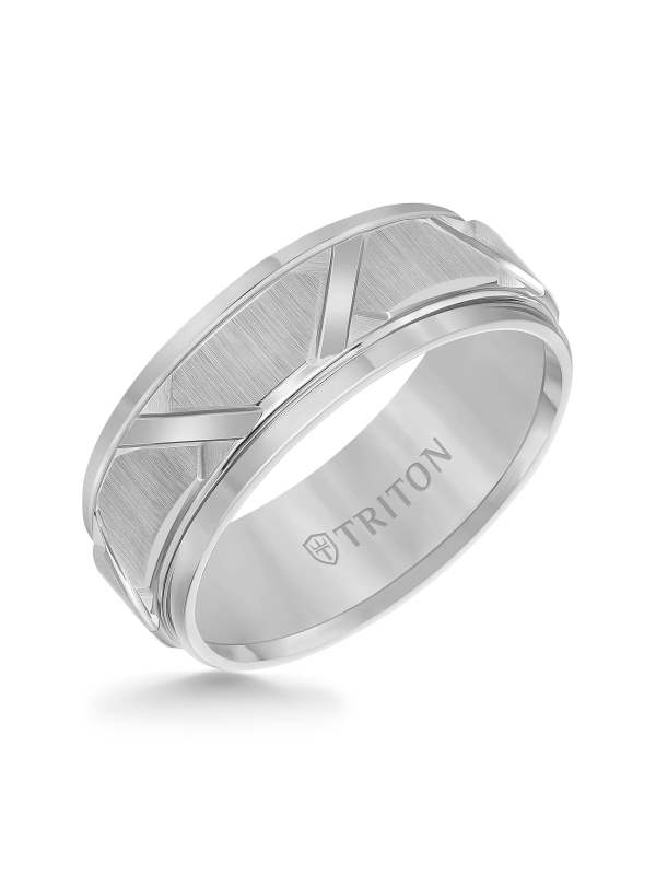 8mm White Tungsten Carbide Step Edge Comfort Fit Band with Vertical Satin Finish and Bright Edges and Cuts