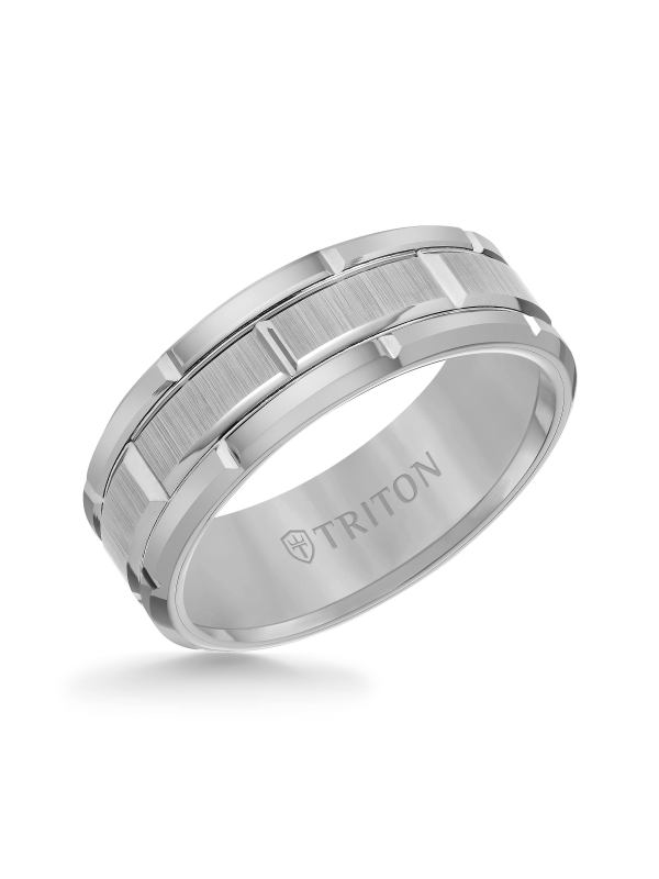 8mm Gray Tungsten Carbide Bevel Edge Comfort Fit Band with Vertical Satin Finish Center and Bright Edges and Cuts