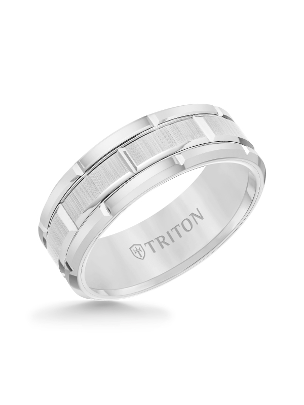 8mm White Tungsten Carbide Bevel Edge Comfort Fit Band with Vertical Satin Finish Center and Bright Edges and Cuts