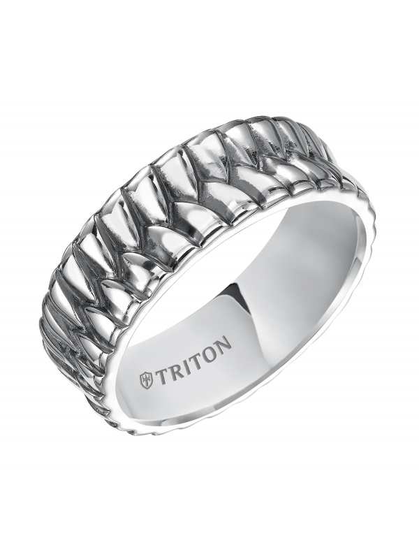 Sterling Silver Cast Woven Comfort Fit Band with Black Oxidation.