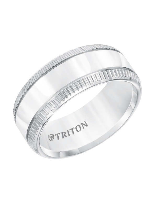 Flat White Tungsten Carbide Band with Coin Edge Rims & Bright Center