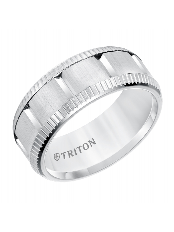 Multi Piece White Tungsten Carbide Comfort Fit Band with Bright Coin Rims & Vertical Cuts