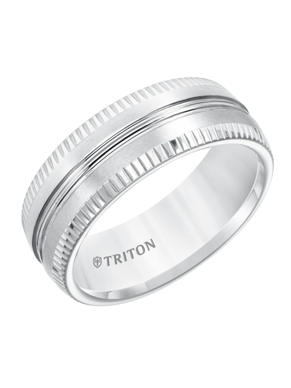 8mm Comfort Fit White Tungsten Carbide Band with Coin Edge & Center Spin Lines & Lathe Satin Finish