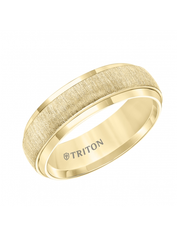 7MM Low Dome Yellow Tungsten Carbide Band with Vertical Brush Finish and Bright Rims