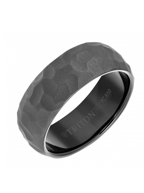 8mm Black Tungsten Carbide Edge to Edge Band with Hammered Pattern