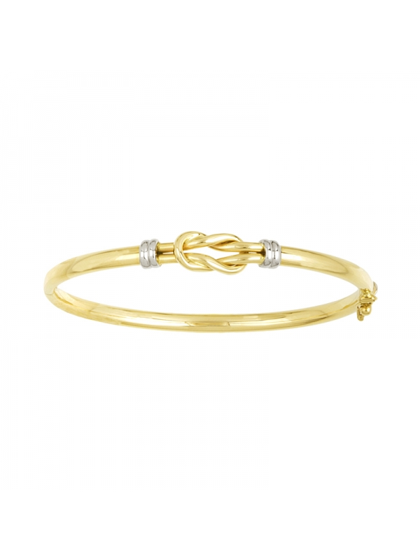 14KT Y/W Bangle with Yellow Knot