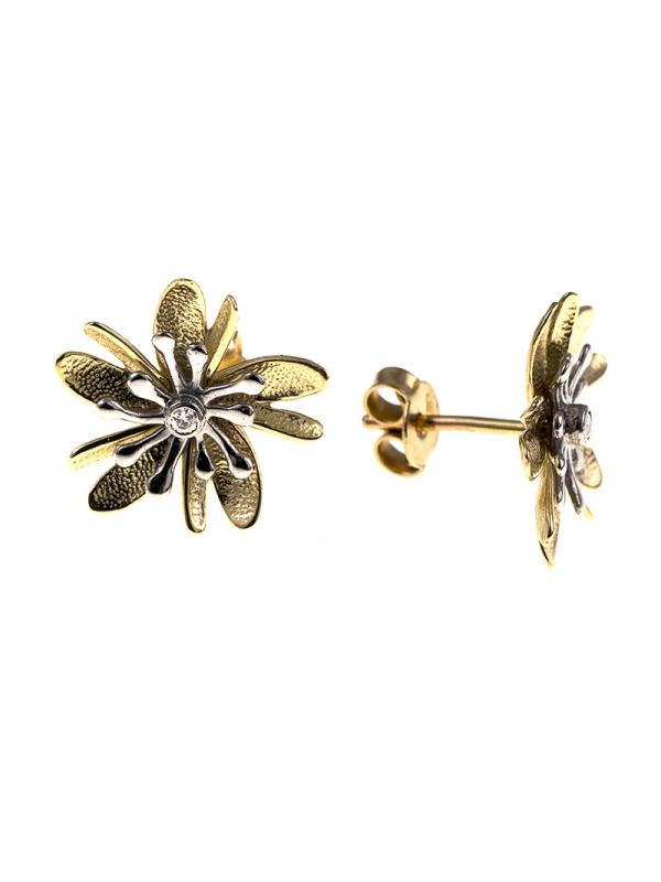 14KT Yellow/White Earrings Flowers