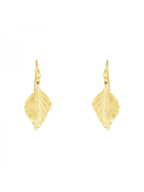 14KT Yellow Leaf Earrings