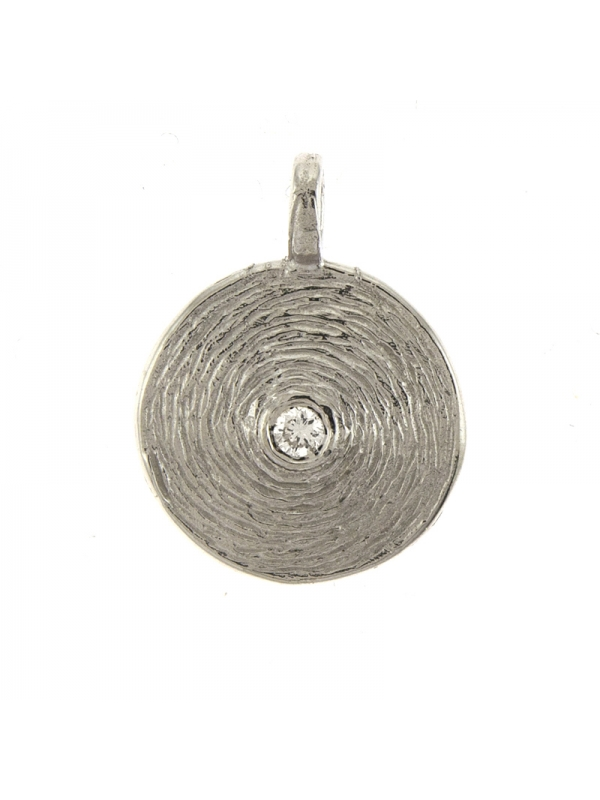 14KT White Pendant Textured Plate