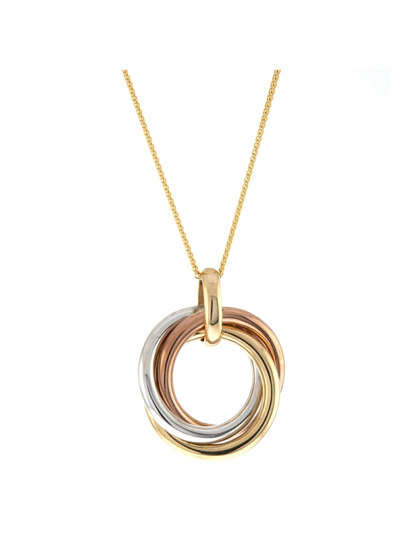 14KT Tricolor Tri-circle Pendants