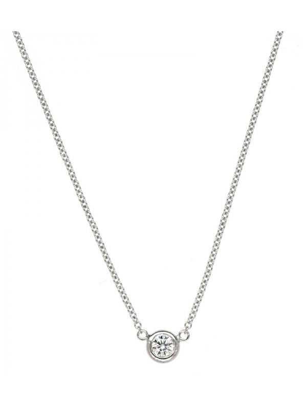 18KT White 1 Bezel Diamond