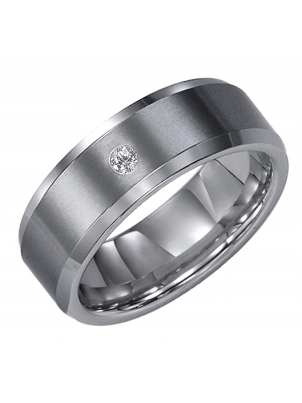 8mm Tungsten carbide Bevel Edge comfort fit diamond band with satin finish center