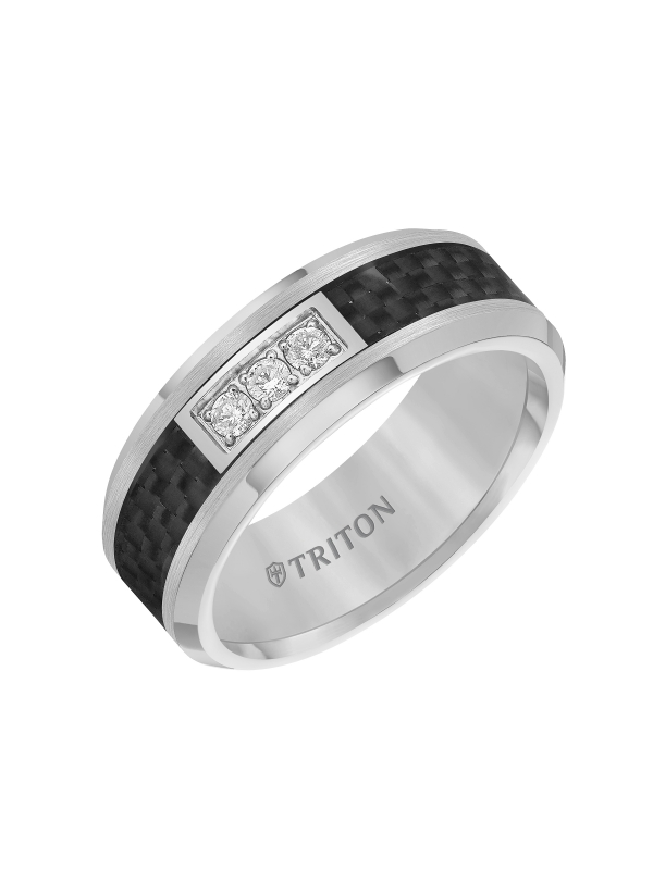 8mm Tungsten carbide Bevel Edge Comfort Fit diamond band with black carbon fiber inlay