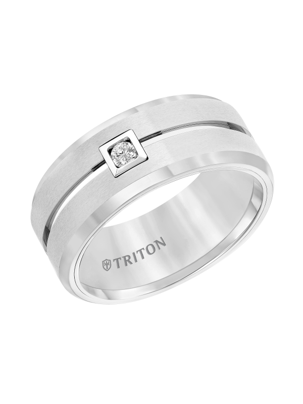 9MM White Tungsten Carbide Flat Comfort fit band. Horizontal Brush Finish with Bright Polished recessed center groove and Bevel Edge. Single Round Diamond set in a Square Bezel.