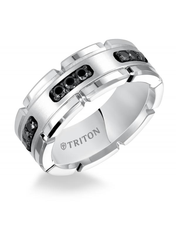 8MM Comfort Fit White Tungsten Silver Diamond Band