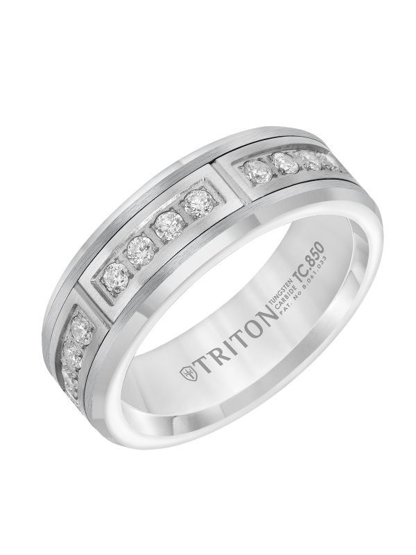 7mm Comfort Fit White Tungsten Band with Channel Set Diamonds in Steel