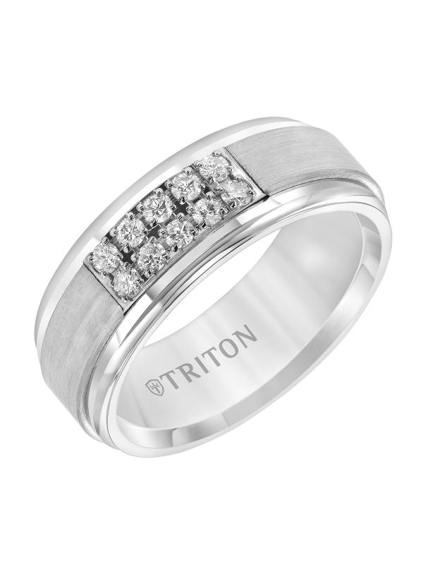 8mm white Tungsten Diamond Band w/ Step edge Bevel