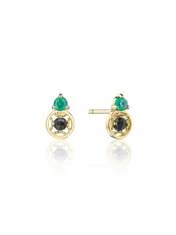 Petite Gemstone Earrings with Black and Green Onyx