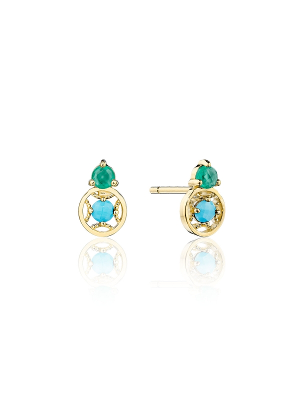 Petite Gemstone Earrings with Turquoise and Green Onyx