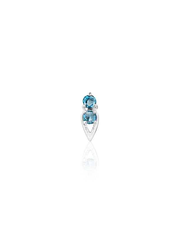 Petite Open Crescent Earrings with London Blue Topaz