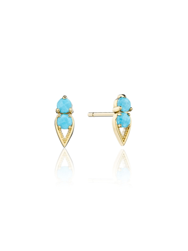 Petite Open Crescent Earrings with Turquoise