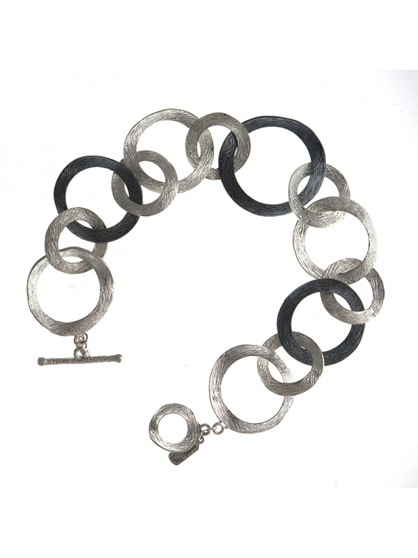 Silver Bracelet Textured Mixed Link