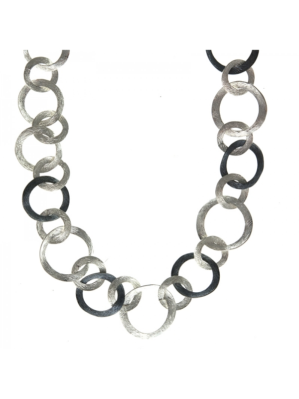 Silver Necklace Textured Mixed Link